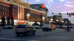 Early Evening Street Scene at Dong Chang'an Jie - stock footage