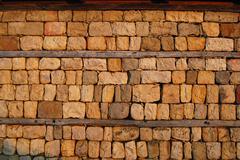 Country yard dry masonry stonewall Stock Photos
