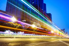 Nightscape Downtown  with  headlights trails - stock photo