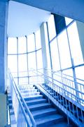 blue interior of the transition - stock photo