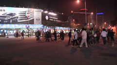 POV at Night at the Northern Part of Wangfujing Dajie Stock Footage