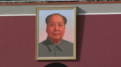 Portrait of Chairman Mao at the Tian'anmen Gate - stock footage
