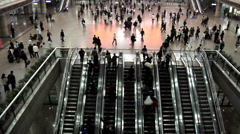 Escalators inside the Beijing West Railway Station Stock Footage