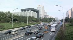 Afternoon Traffic on Chaoyangmen Daji Stock Footage