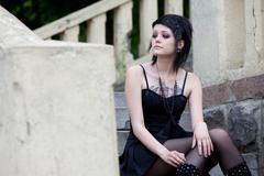 A young girl goth Stock Photos