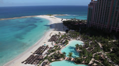 Bahamas Atlantis beach and pool 2 Stock Footage