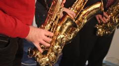 Sax trio in studio Stock Footage