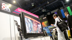 NHK presents Hi-Vision 8K video system, NAB Show 2014 in Las Vegas, USA. Stock Footage