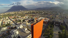 Aerial Shot of Faro del Comercio / Lighthouse of Commerce Stock Footage