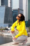 girl in a tracksuit - stock photo