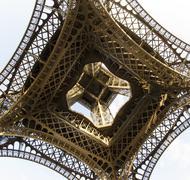 Upward fisheye view of Eiffel Tower Stock Photos