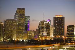 Night Skyline of Miami with Skyscrapers Stock Photos