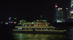 Sight Seeing Boat on the Huangpu River and the Bund Stock Footage
