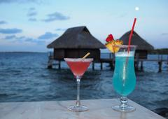 cocktails at dusk - stock photo