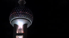 Oriental Pearl TV Tower and the Restaurant and Sky Lounge of the Oriental River Stock Footage