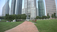 Hi Rising Banking Buildings at the Lujiazui Park with the Bank of China Bocom Stock Footage