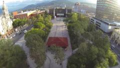 Aerial shot over the Macroplaza Stock Footage