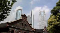 The old Facade of the Puton-Lujiazui Development Exhibition Hall and the High Stock Footage