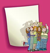 Stock Illustration of cartoon design with teenagers group
