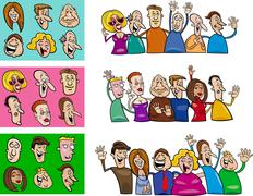 Stock Illustration of big set of happy people