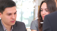 business 5el S&A&D 045 young attractive couple consults at the business analyst - stock footage