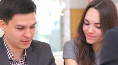 business 5el S&A&D 046 young attractive couple consults at the business analyst - stock footage