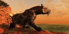 Saber-tooth cat hunt Stock Illustration