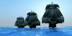 ships in sail - stock illustration