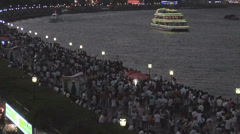 Masses of People visit the Huangpu Riverside Promenade an the National Holiday. - stock footage