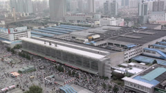 Elevated View of the Shanghai Main Railway Station Stock Footage
