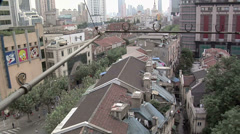 Over the Rooftops of Buildings behind Nanjing Road West looking North. Stock Footage