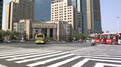Low Angle View of the Intersection of Pudong Road South and Lujiazui Road. Stock Footage
