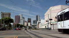 Metro Train Station on Pico Blvd Los Angeles with Skyline of Los Angeles - stock footage