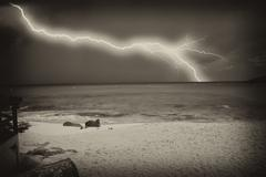 Storm approaching Saint Maarten Island - stock photo