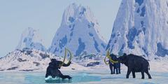 woolly mammoth in danger - stock illustration