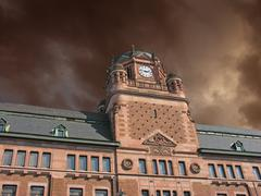 Storm approaching Post Office Building in Stockholm Stock Photos