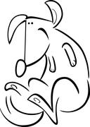 cartoon doodle of happy dog for coloring - stock illustration