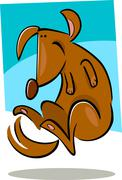 cartoon doodle of happy dog - stock illustration