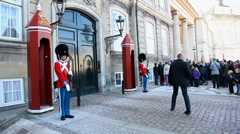 Guards in front of Amalinborg Palace Stock Footage