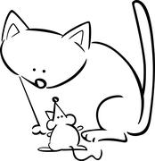 Stock Illustration of cartoon doodle of cat and mouse for coloring