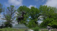 Man O War Memorial at Kentucky Horse Park. 4K Stock Footage