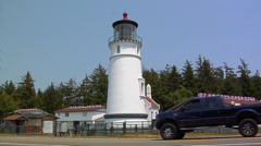 The Umpqua River Lighthouse Winchester Bay Oregon Stock Footage