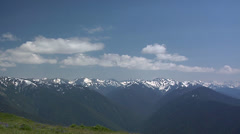 Hurricane Ridge Viewpoint with the Olympic Mountain Range of the Olympic Stock Footage