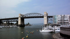 Burrard Bridge and False Creek  VancoUVer Stock Footage