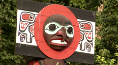 Totem Poles in Stanley Park VancoUVer Stock Footage