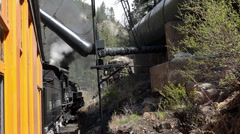 Coal stream engine water stop whistle warning HD 133 Stock Footage