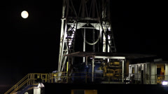 Drilling Rig Night W Moon Stock Footage