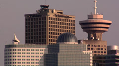 VancoUVer Skyline with the VancoUVer Lookout Tower Stock Footage
