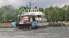 Ferry at the river, Gdansk, Poland 2 Stock Footage