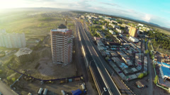Construction site with crane shot from UAV quadcopter Stock Footage
